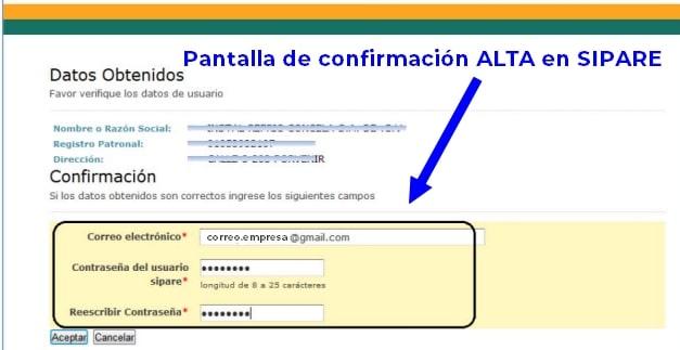 confirmación registro sipare